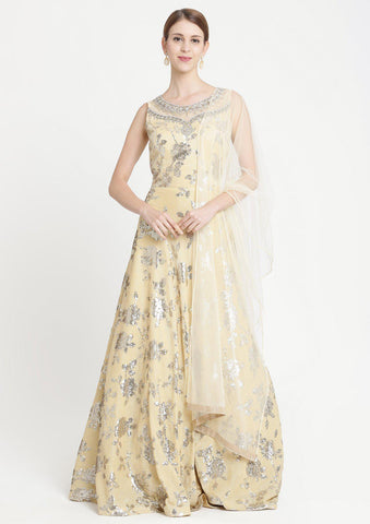 Yellow Sequins Georgette Designer Gown