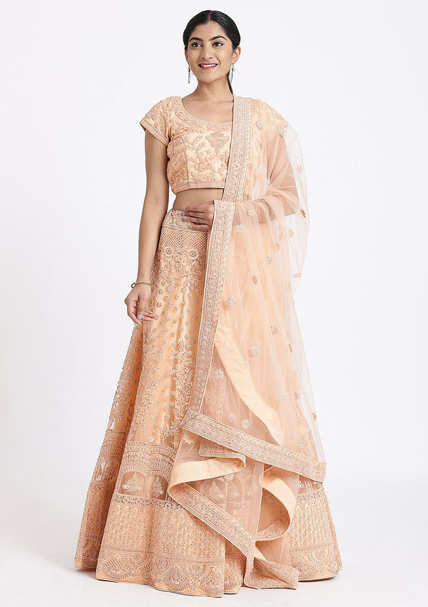 Peach Threadwork Net Designer Lehenga