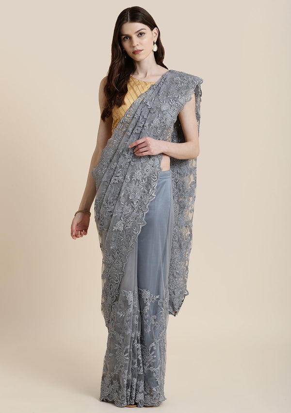 Light Grey Stonework Net  Designer Saree