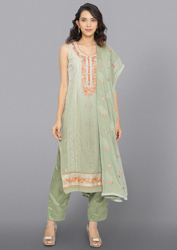 Light Green Zariwork Georgette Designer Salwar Suit-Koskii