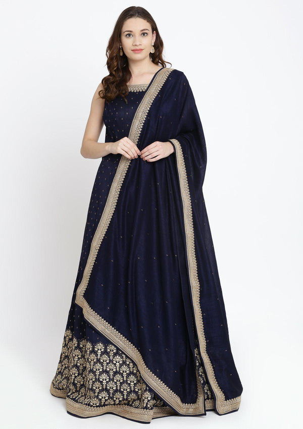 Navy Blue Zariwork Raw Silk Designer Gown