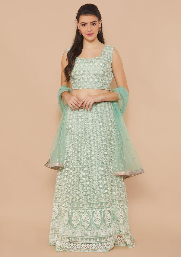 Koskii Threadwork Net Sea Foam Green Lehenga