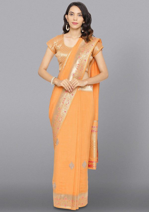 Yellow Stonework Brocade Designer Saree