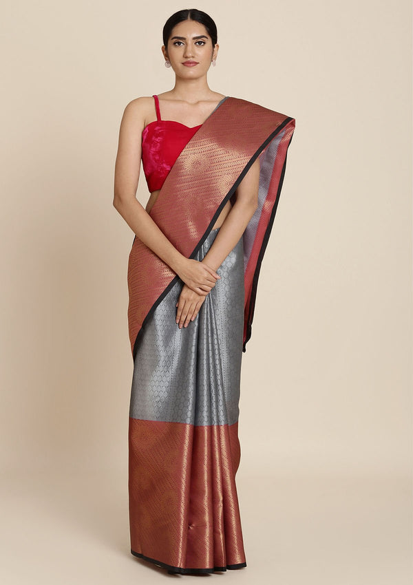 Dark Grey Zariwork Tissue Designer Saree