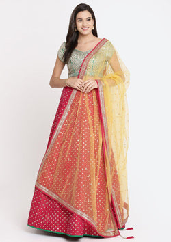 Fuschia and Green Gotapatti Raw Silk Designer Lehenga-Koskii