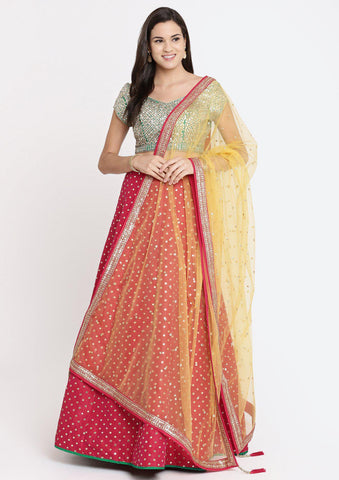 Fuschia and Green Gotapatti Raw Silk Designer Lehenga
