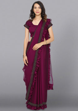 Wine Swarovski Satin Designer Saree