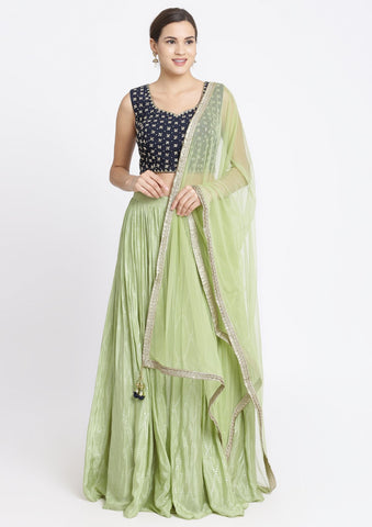 Pista Green and Navy Blue Mirrorwork Satin Designer Lehenga-Koskii