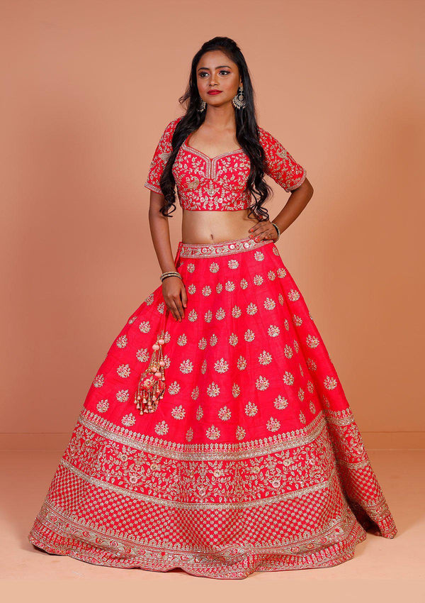 Fuschia Sequins Raw Silk Designer Lehenga