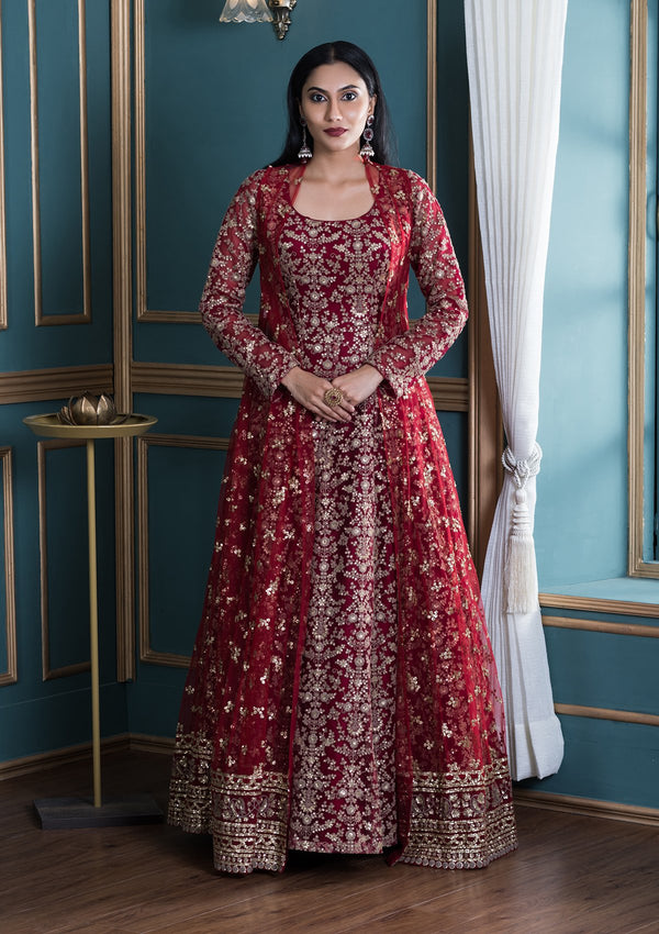Red Sequinned Net Indo Western Designer Gown