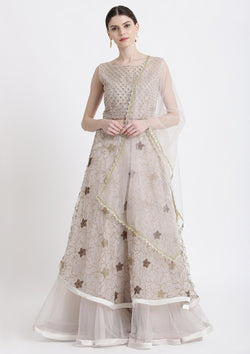 Light Grey Pearlwork Net Designer Lehenga