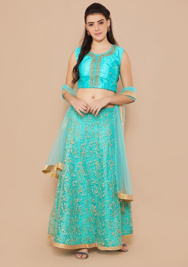 Koskii Sequence Net CYAN GREEN Lehenga