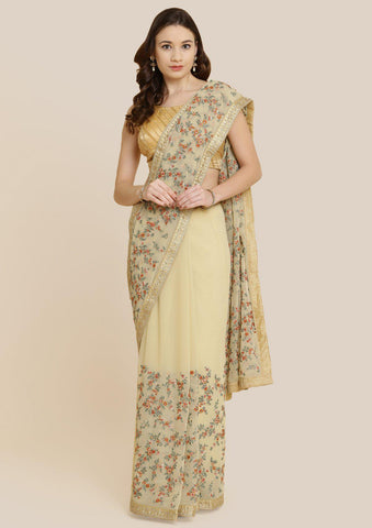 Gold Threadwork Georgette Designer Saree