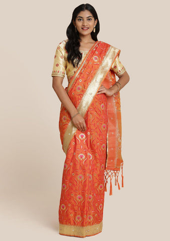 Orange Cutdana Brocade Designer Saree