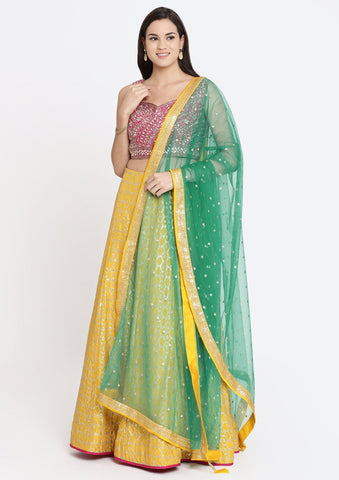 Yellow Gotapatti Raw Silk Designer Lehenga