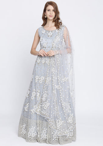 Light Grey Cutdana Net Designer Gown-Koskii