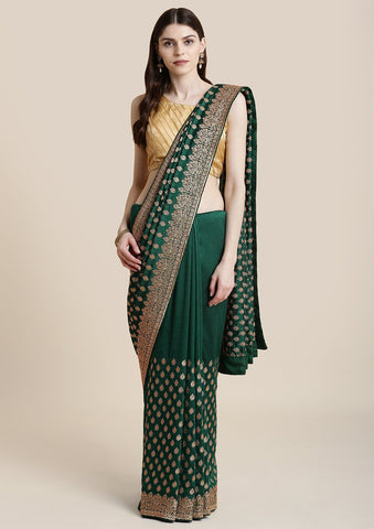 Bottle Green Zariwork Raw Silk Designer Saree
