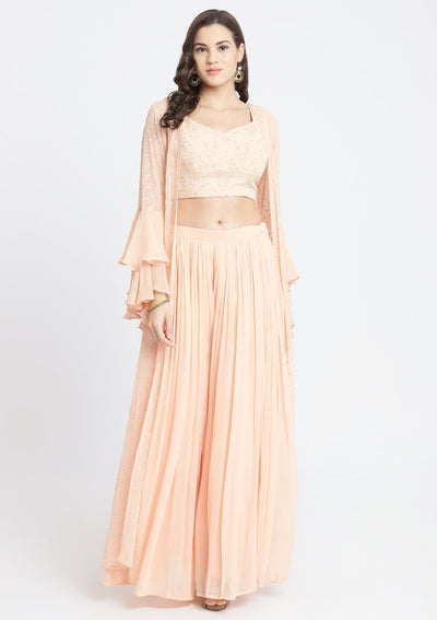 Peach Threadwork Georgette Designer Crop Top Set-Koskii
