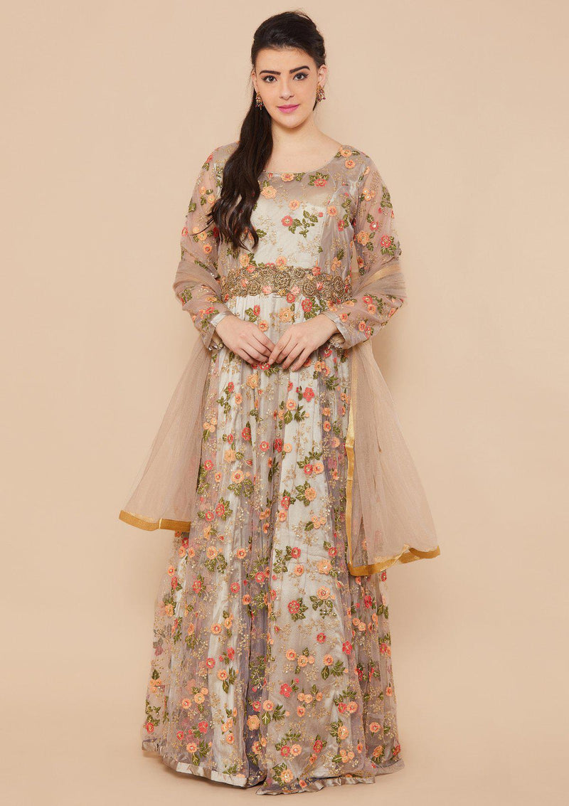 Koskii Zariwork Net Clay Grey Gown
