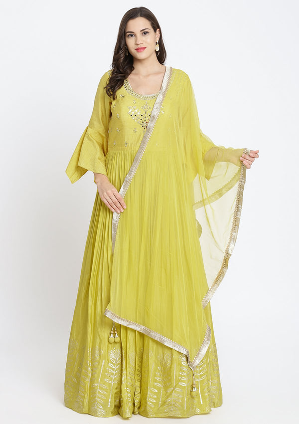 Yellow Mirrorwork Satin Designer Gown-Koskii