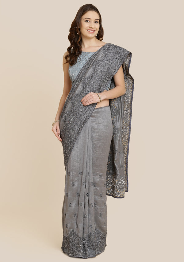Dark Grey Zariwork Art Silk Designer Saree