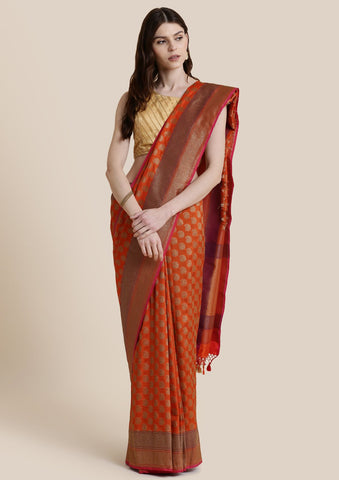 Orange Zariwork Banarasi Designer Saree