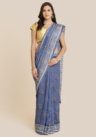 Light Grey Cutdana Art Silk Designer Saree