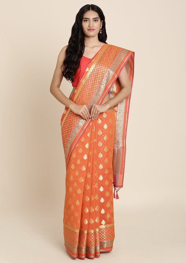 Orange Zariwork Art Silk Designer Saree
