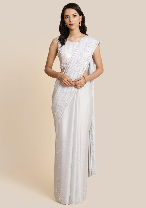 Light Grey Pearlwork Georgette Designer Saree