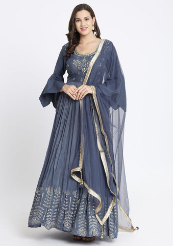 Dark Grey Mirrorwork Satin Designer Gown-Koskii