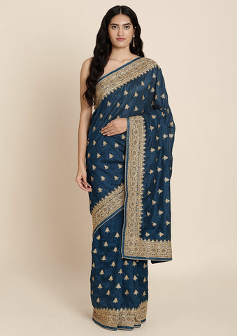 Peacock Blue Zariwork Art Silk Designer Saree