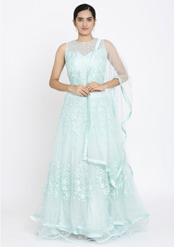Sea Green Threadwork Net Designer Lehenga