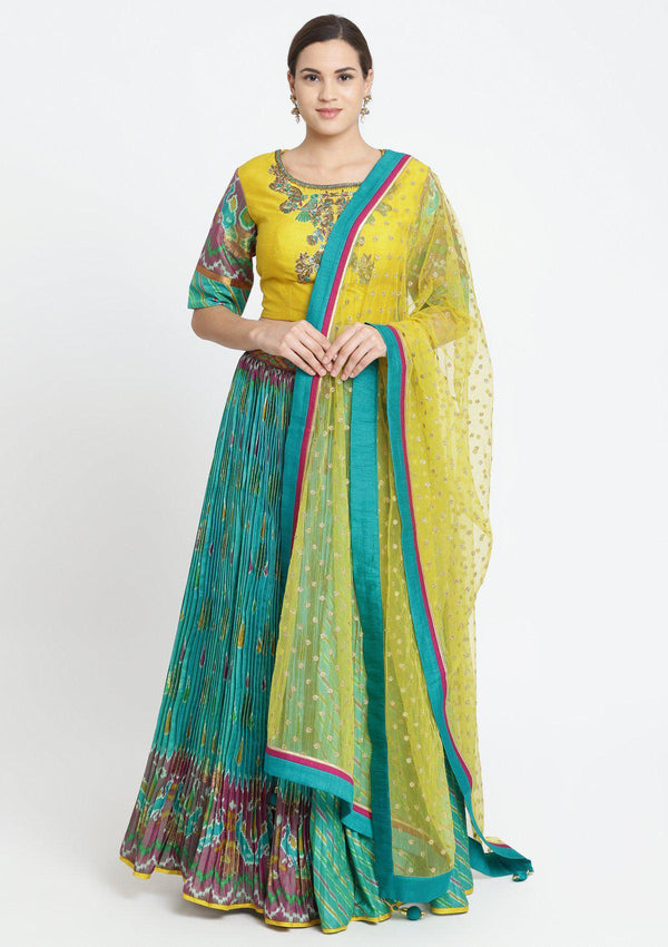 Blue Green and Yellow Zardosi Rawsilk Designer Lehenga