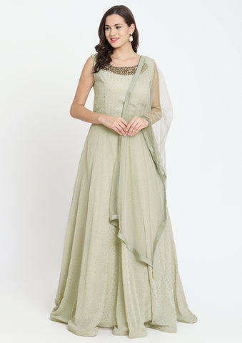 Pista Green Badla-work Georgette Designer Gown-Koskii