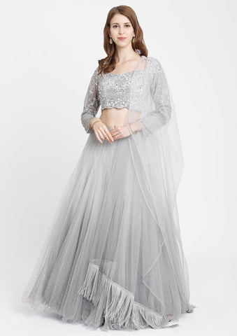 Light Grey Sequins Net Designer Lehenga