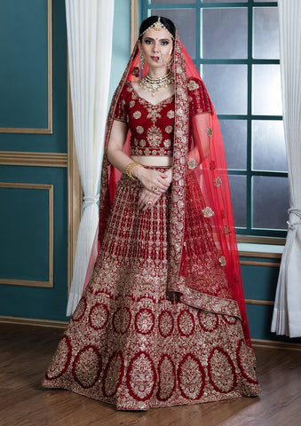 Red Thread Work Velvet Bridal Designer Lehenga
