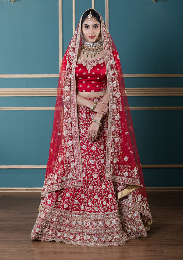 Koskii Red Satin Silk Designer Bridal Lehenga