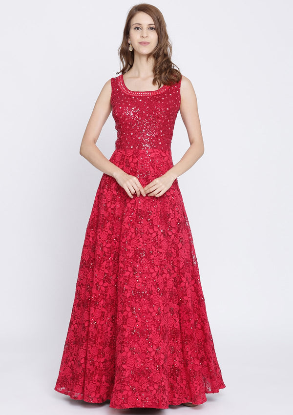 Red Chikankari Net Designer Gown