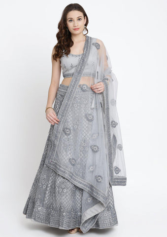 Light Grey Threadwork Net Designer Lehenga-Koskii