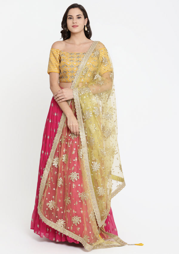 Fuschia and Yellow Cutdana Georgette Designer Lehenga