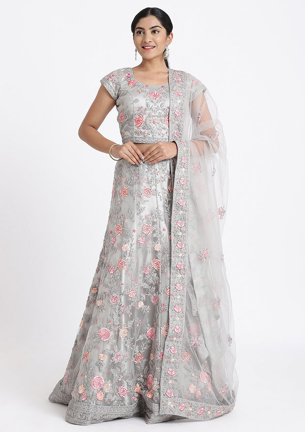 Silver Threadwork Net Designer Lehenga