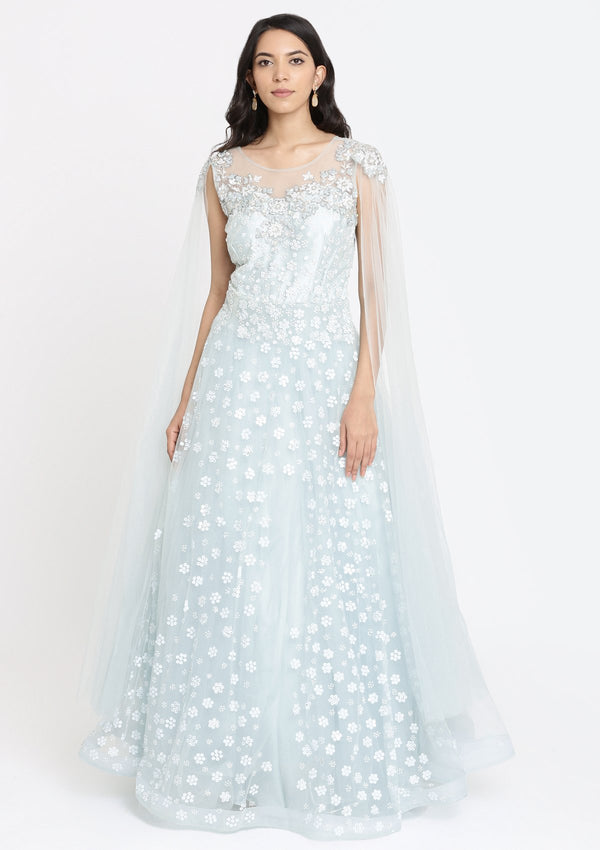 Sea Green Sequins Net Designer Gown