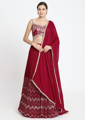 Red Zardosi Art Silk Designer Lehenga