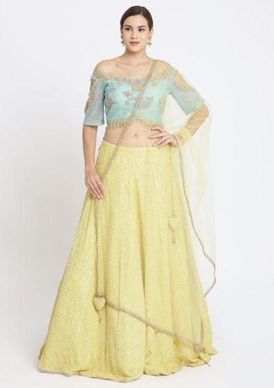 Yellow and Sea Green Chikankari Georgette Designer Lehenga-Koskii