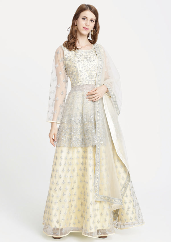 Lemon Yellow Zariwork Net Designer Lehenga