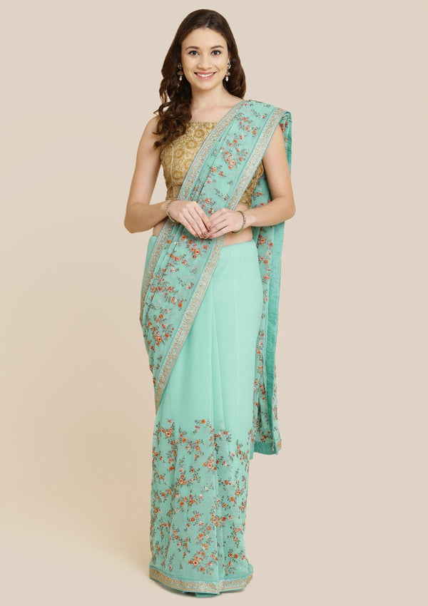 Sea Green Threadwork Georgette Designer Saree-Koskii