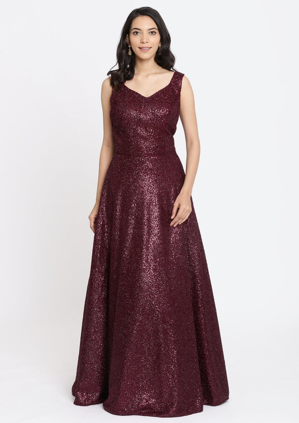 Maroon Sequins Imported Fabric Designer Gown-Koskii