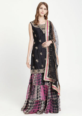 Black Zardozi Raw Silk Designer Sharara