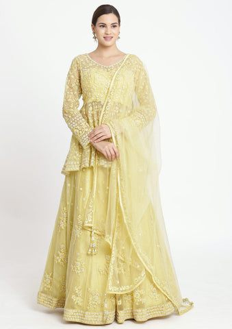 Lemon Yellow Stonework Net Designer Lehenga