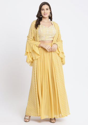 Yellow Threadwork Georgette Designer Crop Top Set